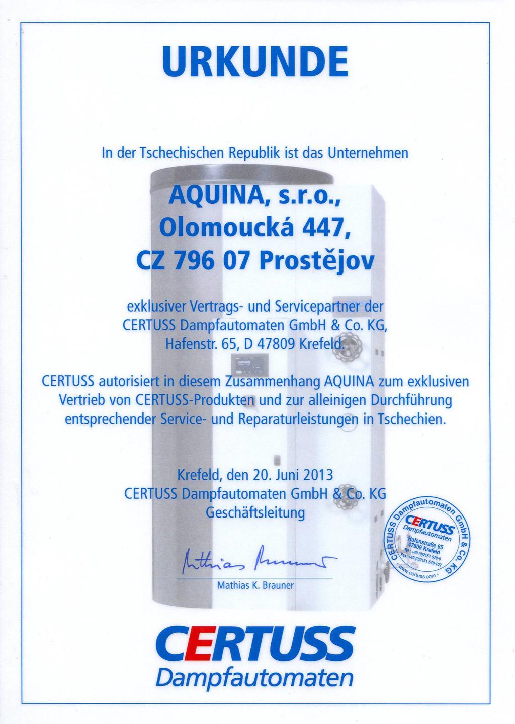 Zastoupení výrobce CERTUSS